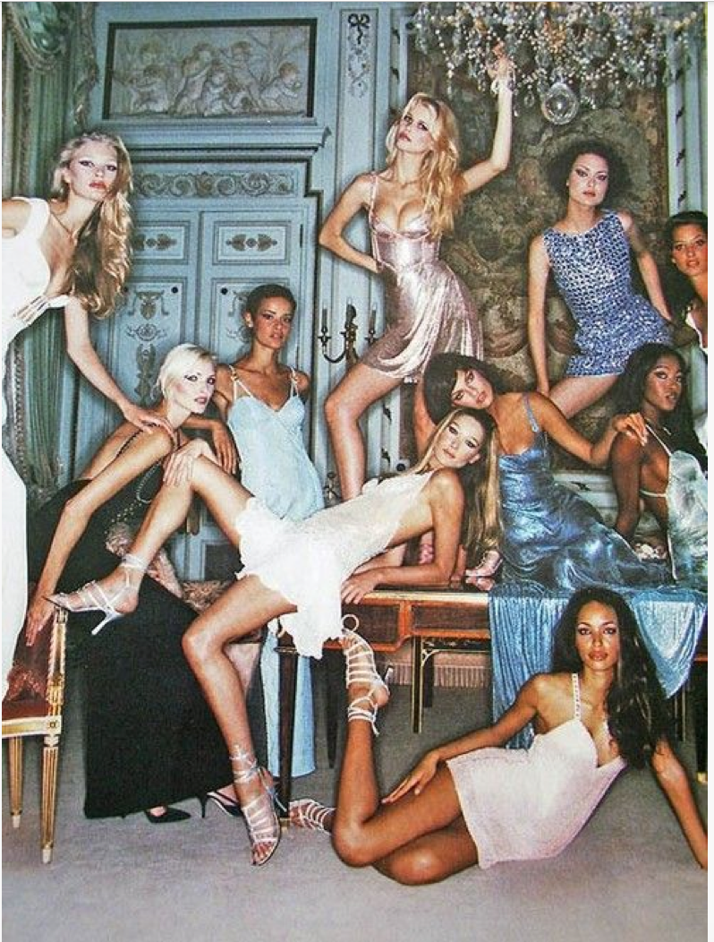 Kirsty Hume, Nadja Auermann, Nadege du Bospertus, Carla Bruni, Claudia Schiffer, Shalom Harlow, Naomi Campbell & Christy Turlington, circa mid 90s - Auf 80s-90s-supermodels.tumblr.com gefunden
