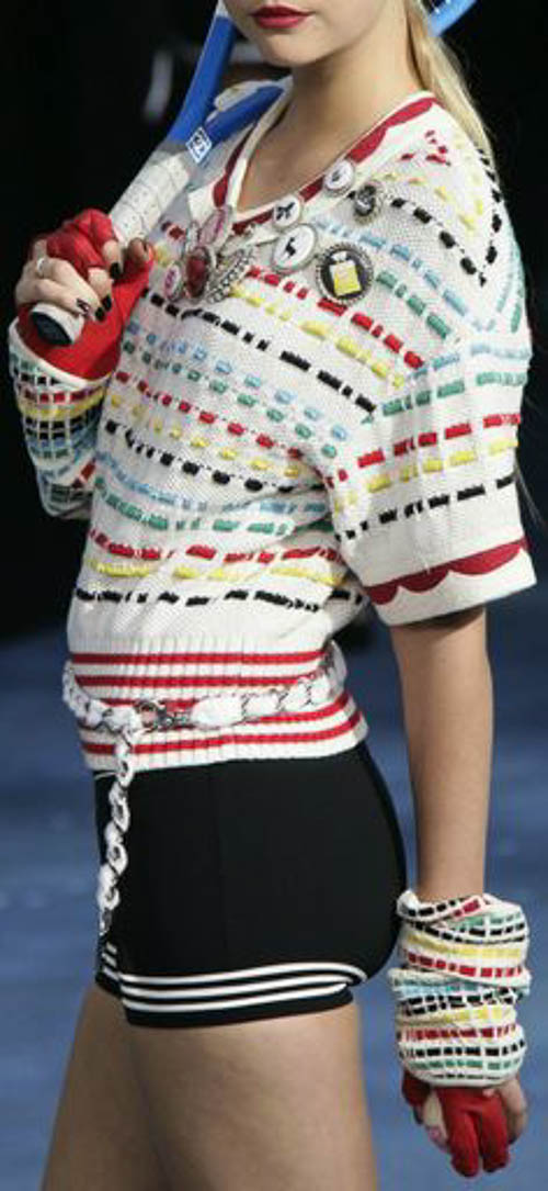 Chanel Tennis Kollektion - Chanel, Gemma Ward: Colored sweater & black short for play tennis.