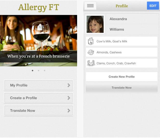 Ernährungs App Allergy FT für Allergien und Lebensmittelunverträglichkeiten unterwegs