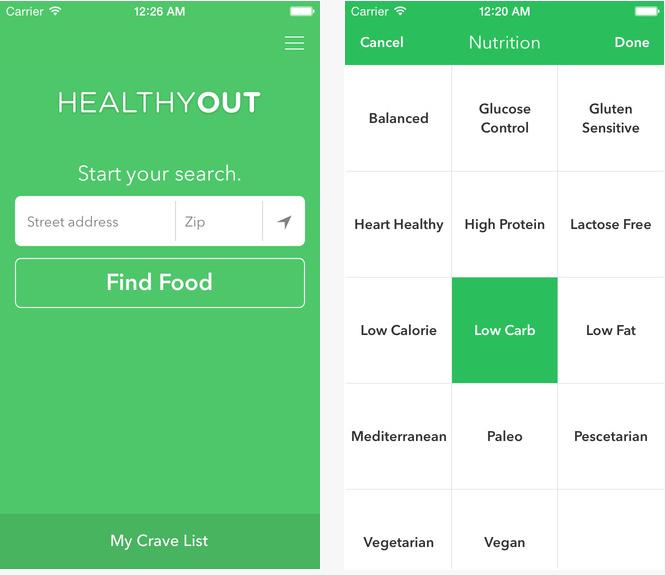 Ernährungs-App Healthy Out zeigt Dir Restaurants in Deiner Nähe an die zu Deiner Diät passen