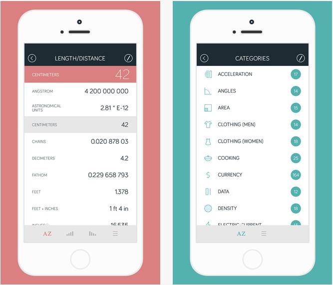 Ernährungs App Amount rechnet Einheiten wie z.B. Cup ind Gramm um