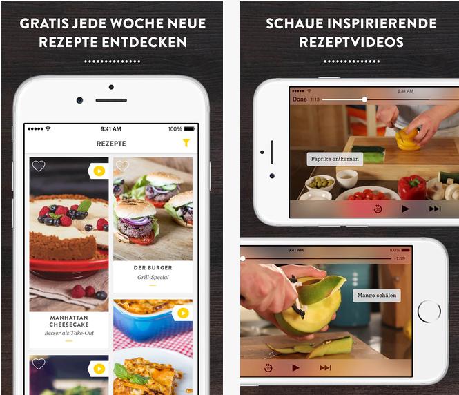 Ernährungs Apps Kitchen Stories ist eine gratis Video Kochbuch App