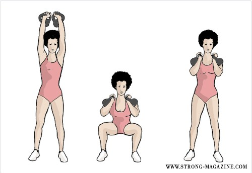 STRONG-Kettlebell Thruster_Squat to Clean to Overhead Press(Kettlebell Sumo High Pull)