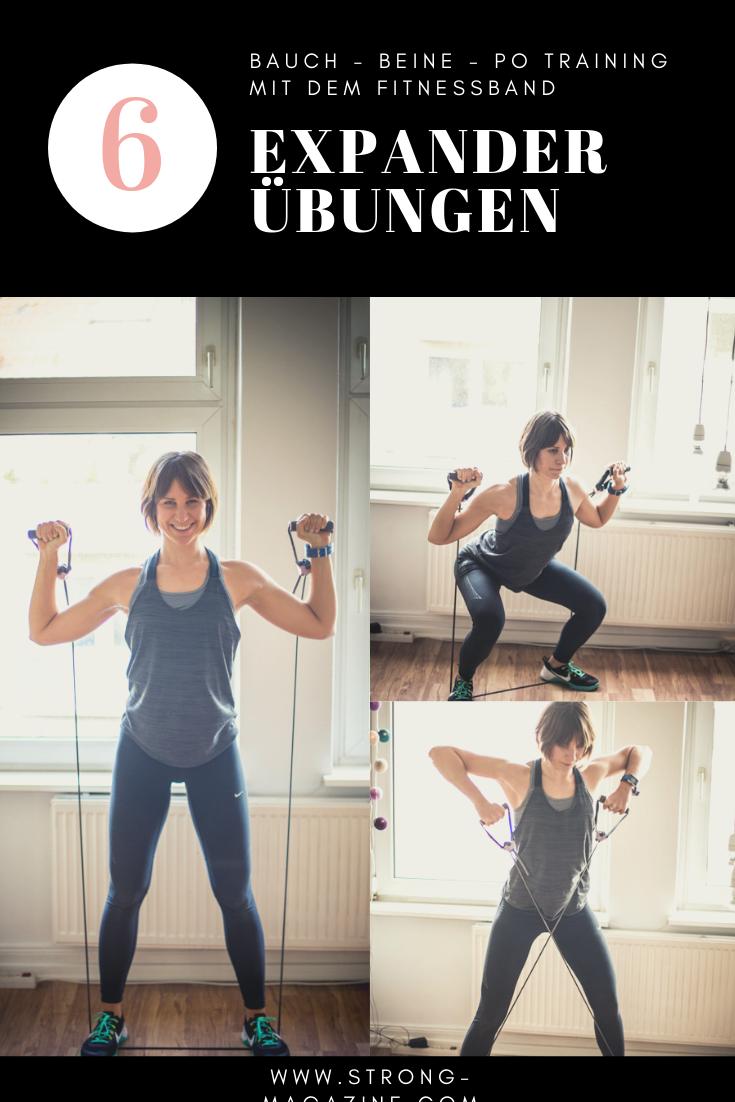 6 Expander Übungen - Bauch Beine Po Training mit dem Fitnessband für Zuhause