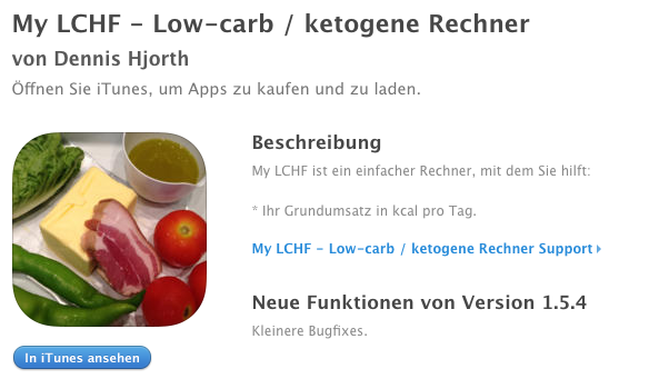 My LCHF - Low-carb / ketogene Rechner App