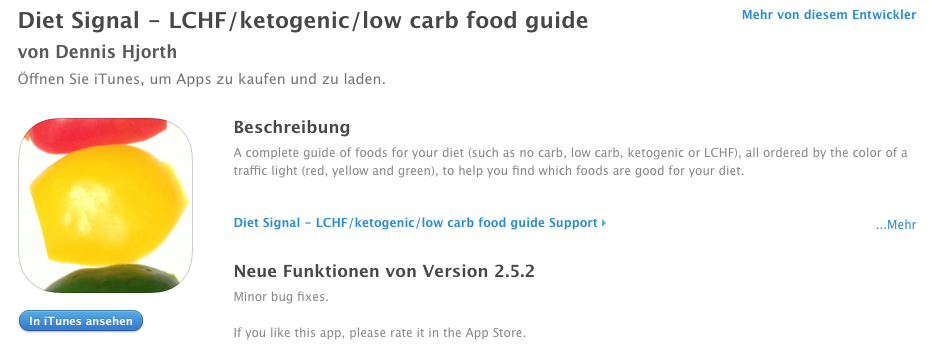 Diet Signal - LCHF/ketogenic/low carb food guide App