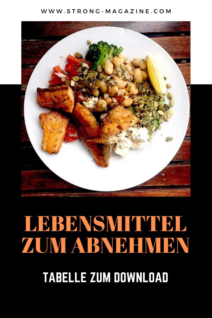 Lebensmittel zum Abnehmen - die Tabelle als PDF zum gratis Download