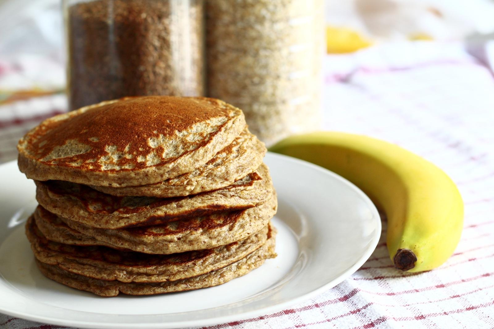 Rezept für vegane Protein Pancakes mit Leinsaamenmehl