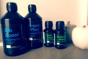 Juice Tea: Bio Boost und Prepare+Play; Shot: Defend+Attack und Fast Track von the Rootine