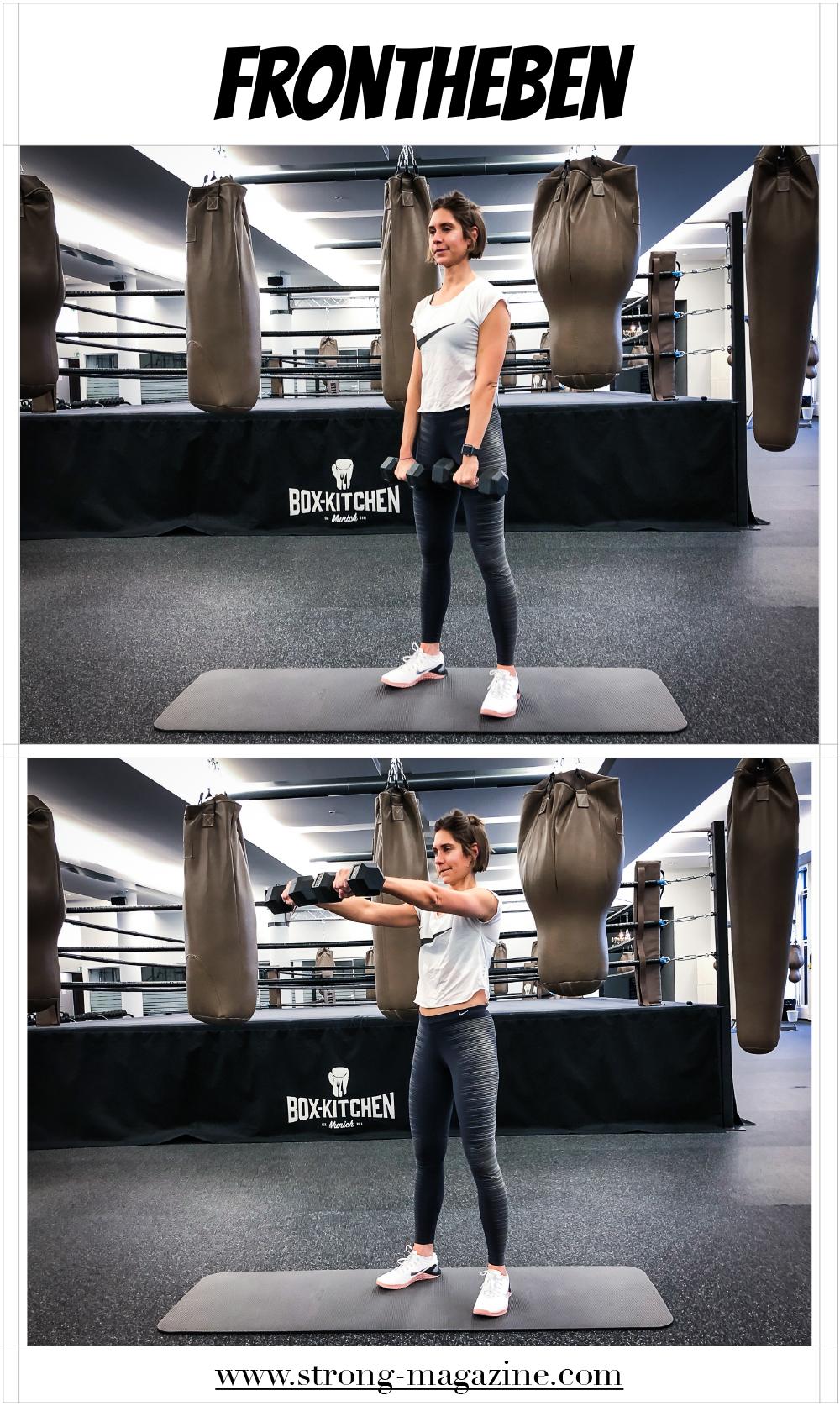 Fitnessübung für die Schultern - Frontheben Anleitung