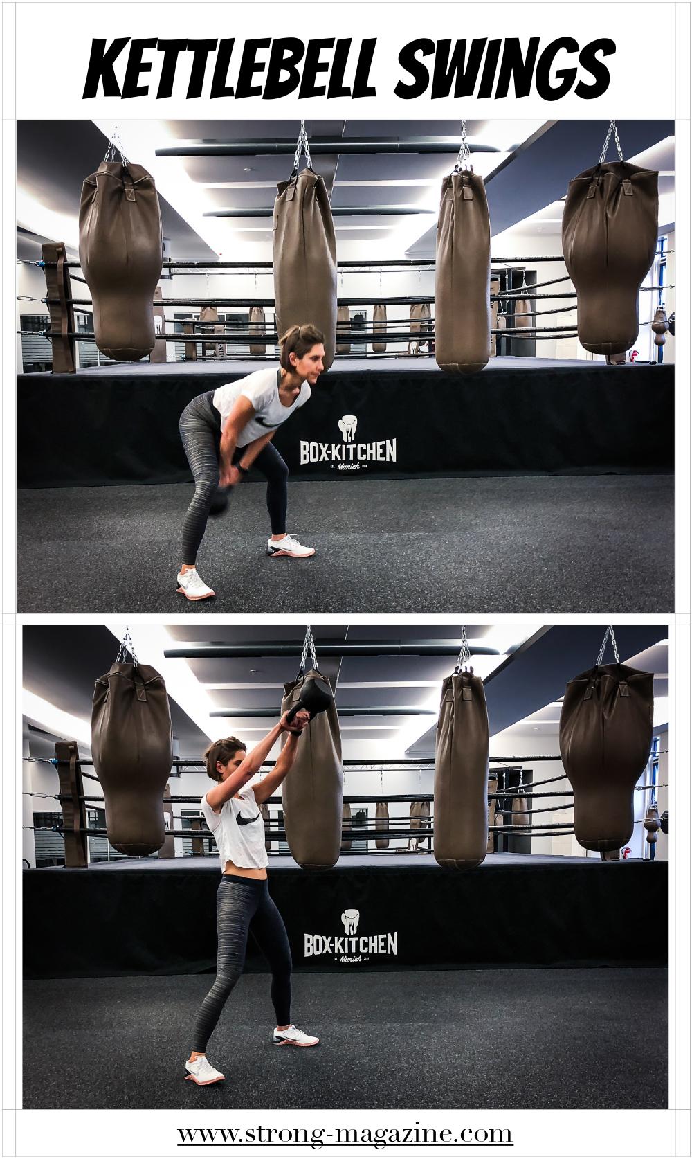 Übung für den großen Pomuskel: Kettlebell Swings Anleitung