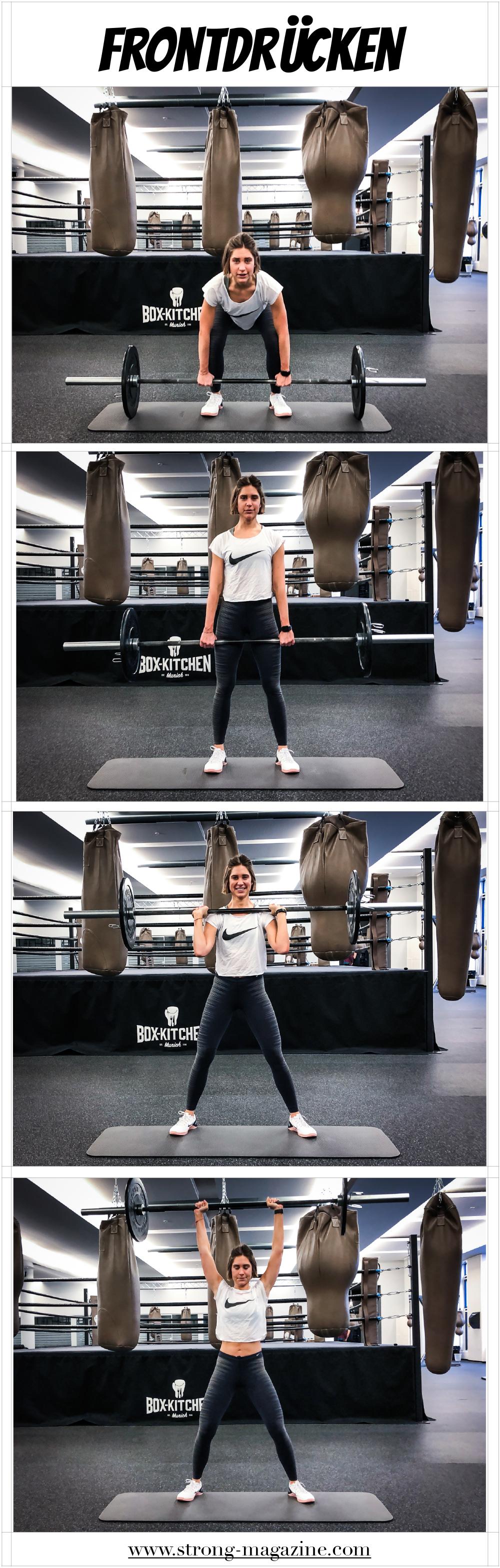 Fitnessübung für die Schultern: Frontdrücken im Stehen - Anleitung