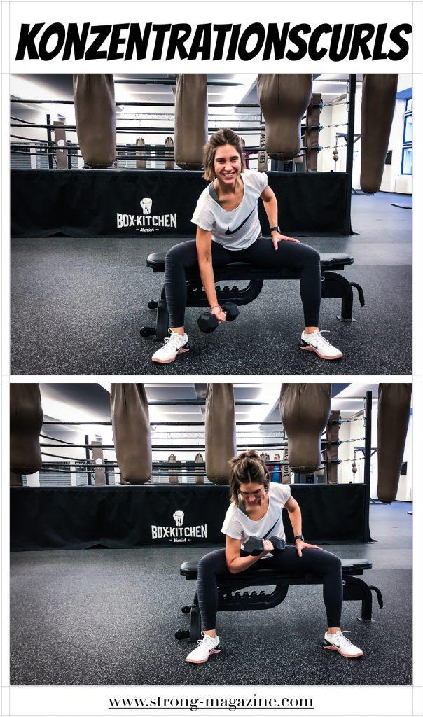 Fitnessübung für die Schultern: Konzentrationscurls - Anleitung