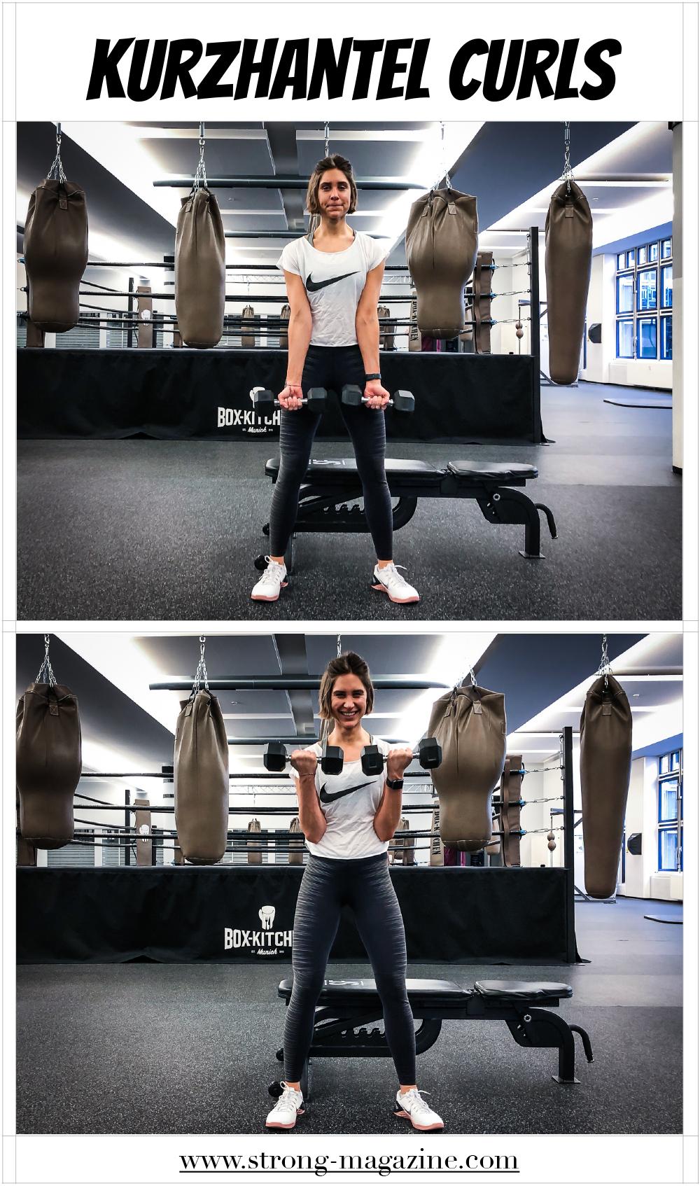 Fitnessübung für die Schultern: Kurzhantel Curls - Anleitung