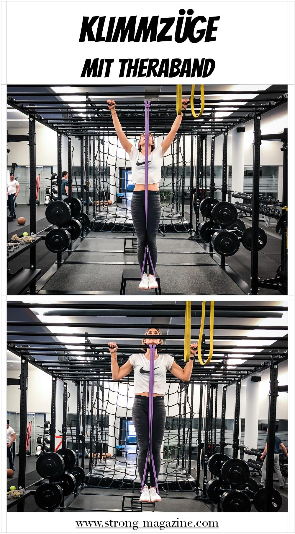 Fitnessübung für die Schultern: Klimmzüge mit Theraband - Anleitung