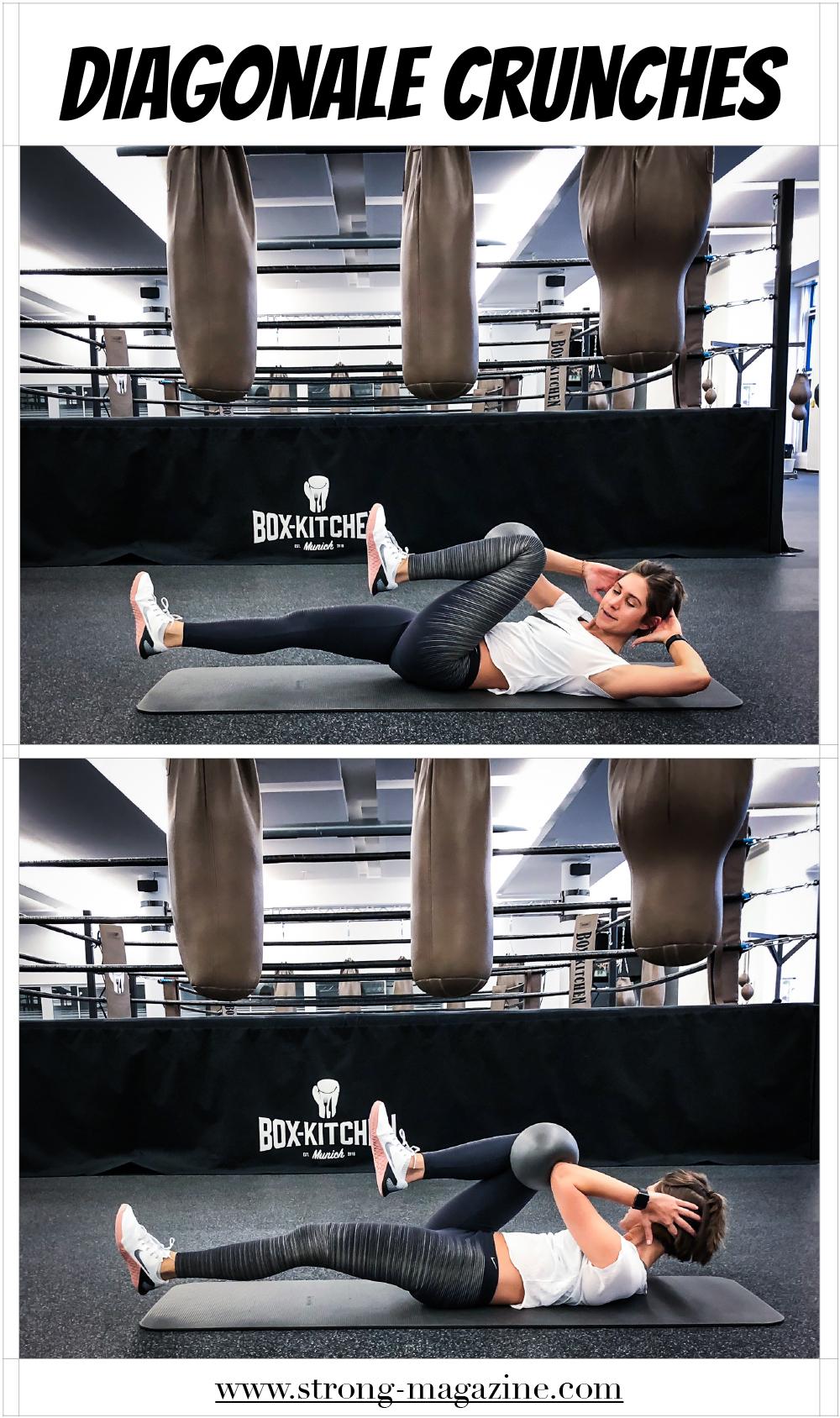 Übung für den seitlichen Bauch: diagonale Crunches