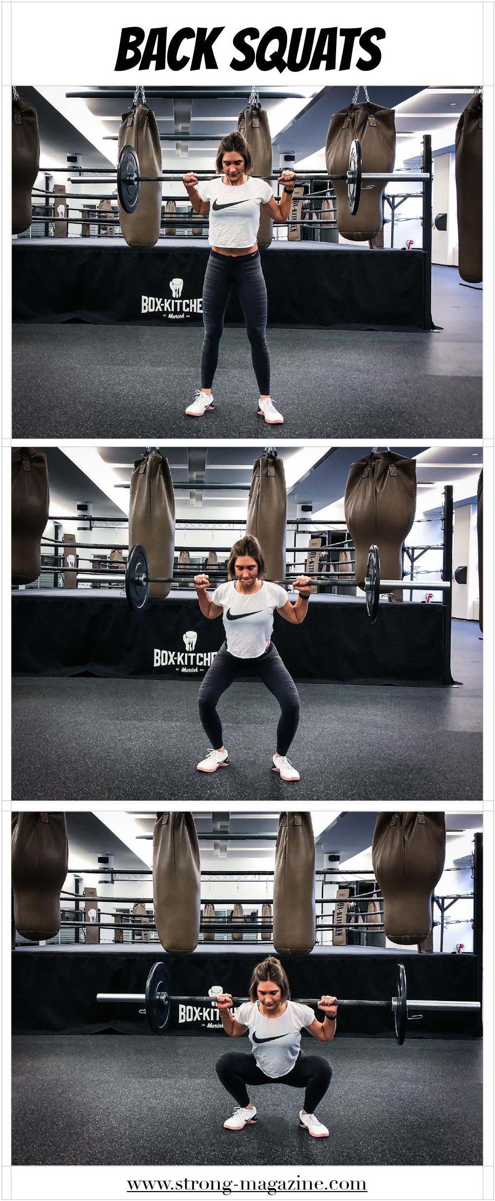 Übung für den Po und die Beine: Back Squats (Kniebeugen mit Langhantelstange klassisch)
