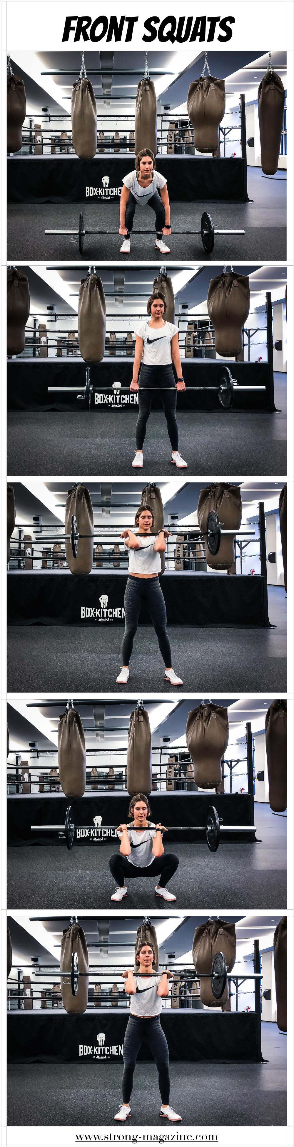 Übung für die Oberschenkel und den Po: Front Squats Anleitung