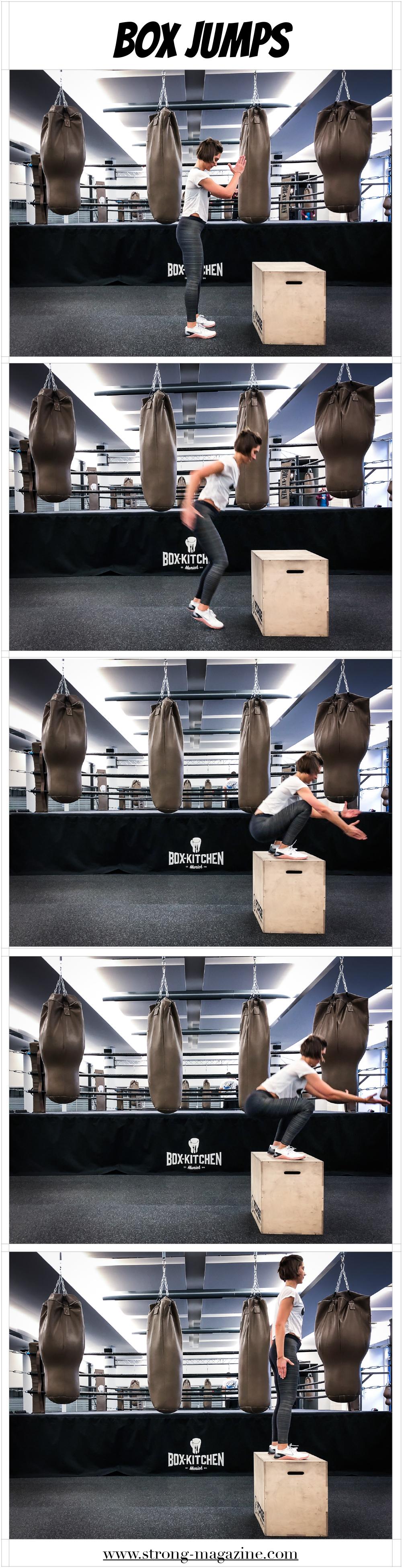 Übung für die Beine, Po und die Waden: Box Jumps Anleitung