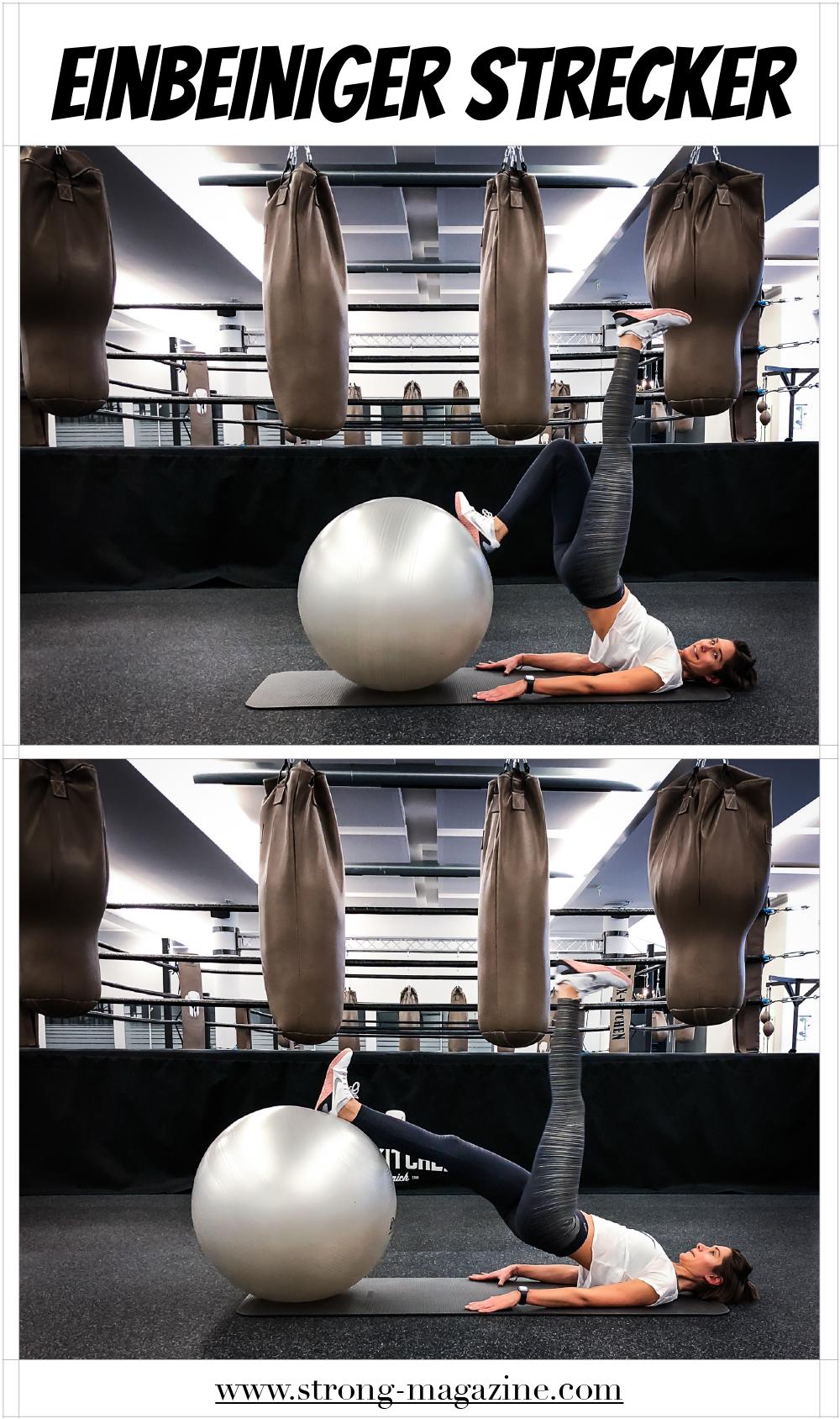 Übung für Po und Oberschenkelrückseite: Einbeiniger Strecker auf dem Medizinball