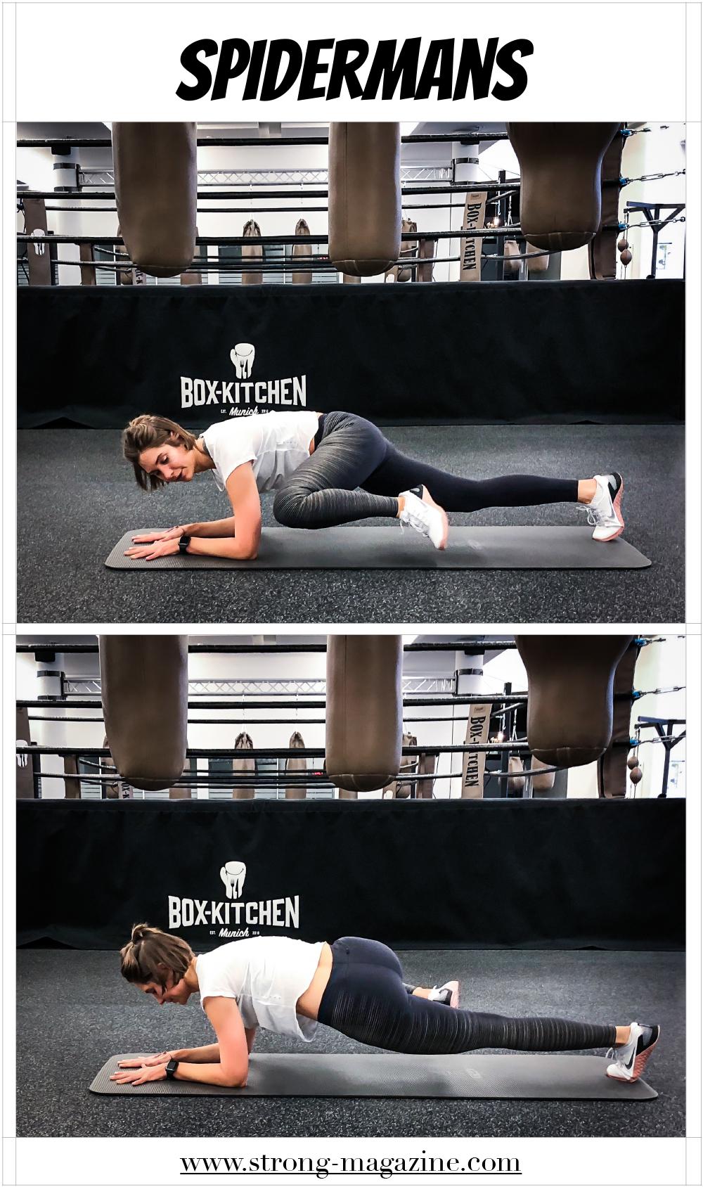 Übung für die seitlichen Bauchmuskeln: Spiderman Plank