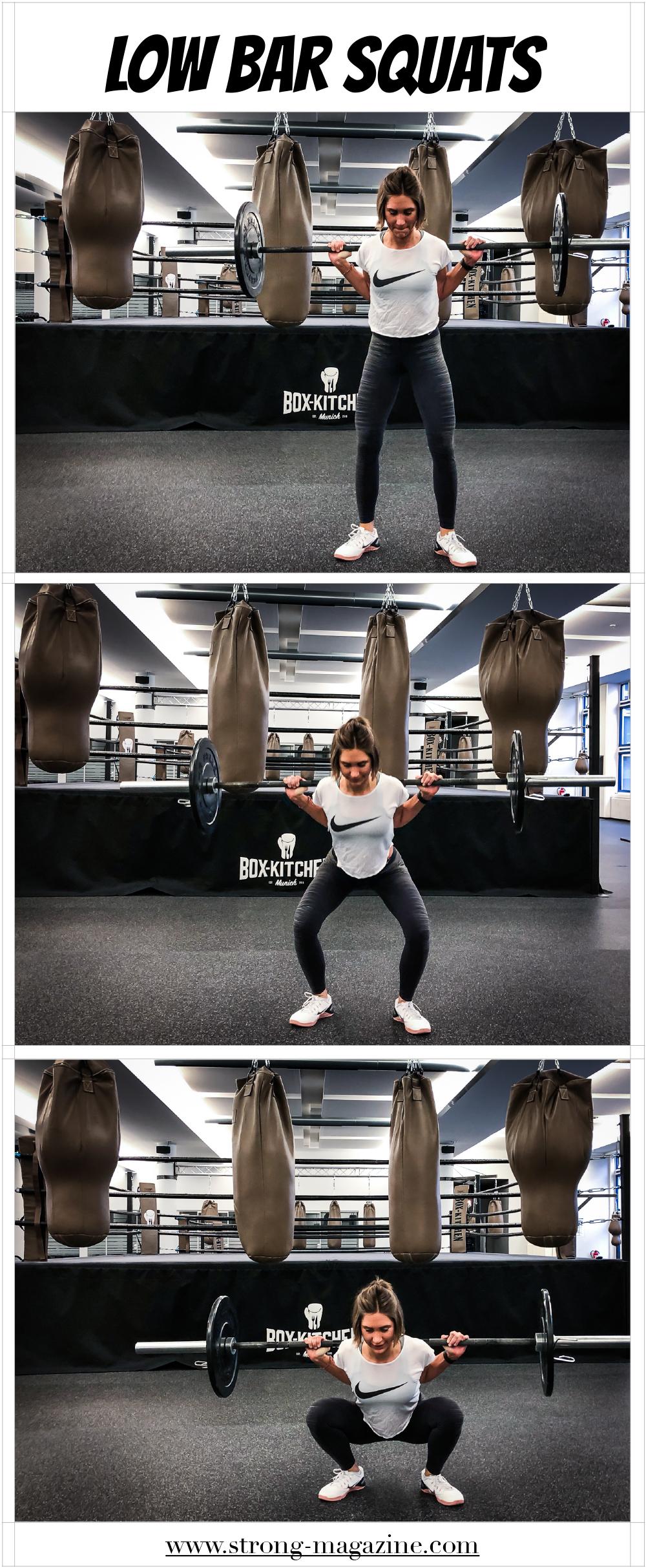 Übung für den Po und die Beine: Low Bar Squats nach Mark Rippetoe