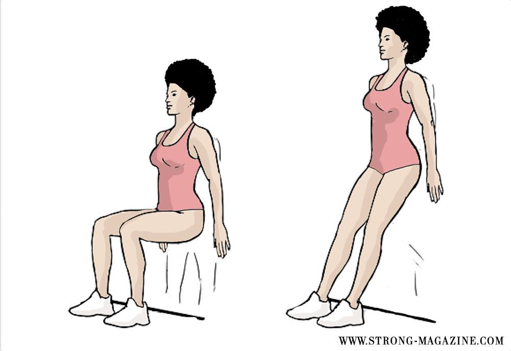 Zirkeltraining Übung für die Beine und den Po: Wandsitz - Bootcamp Fitness zur Unterstützung beim Krafttraining