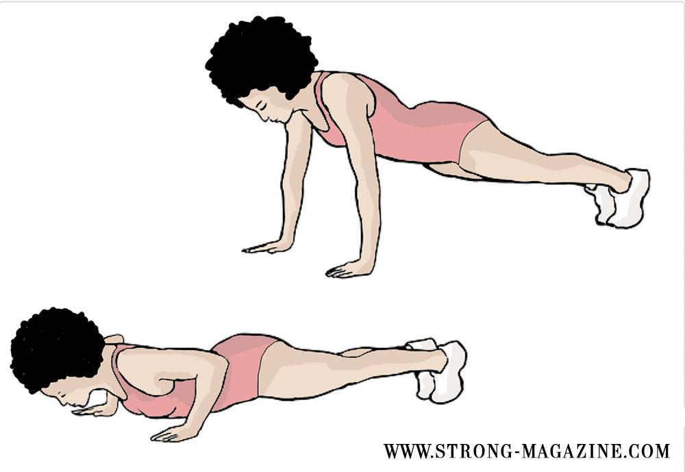 Zirkeltraining Cardio Übung für die Brust: Liegestütze (Push-Ups)